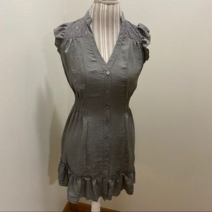 Lace Shoulder Buttoned Mini Dress Love On A Hanger